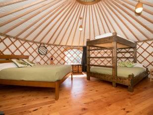 Family Group Yurt Interior at Oasis Yurt Lodge, Wanaka NZ