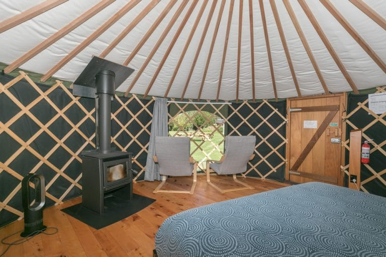 Interior of Queen Yurt at Oasis Yurt Lodge Wanaka, NZ