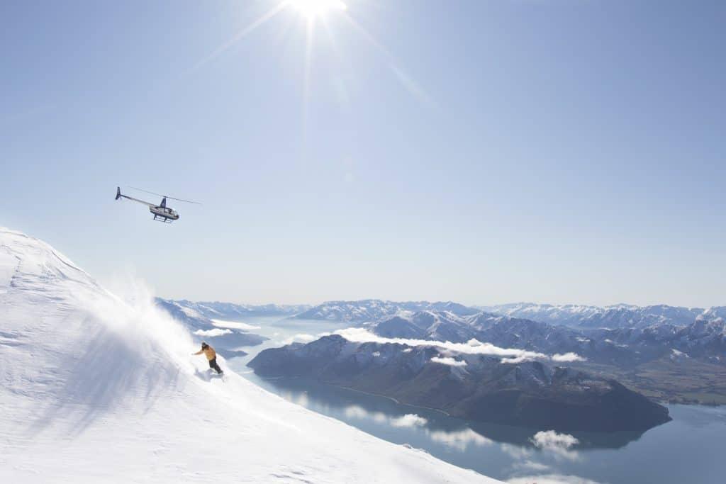 Heli skiing above Lake Wanaka with helicopter