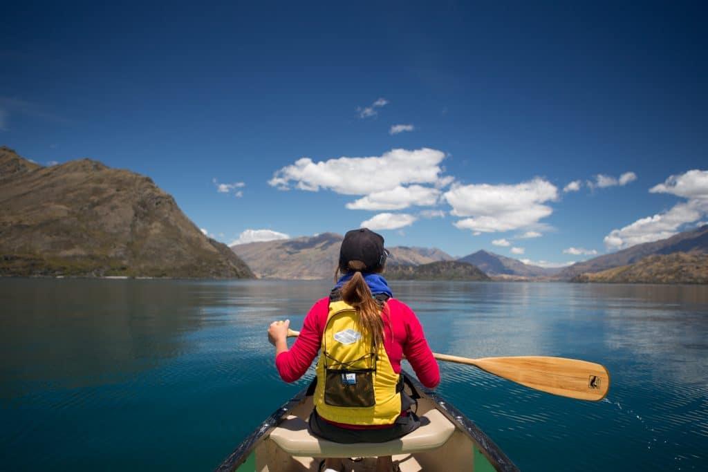 Canoe in Lake Wanaka, New Zealand