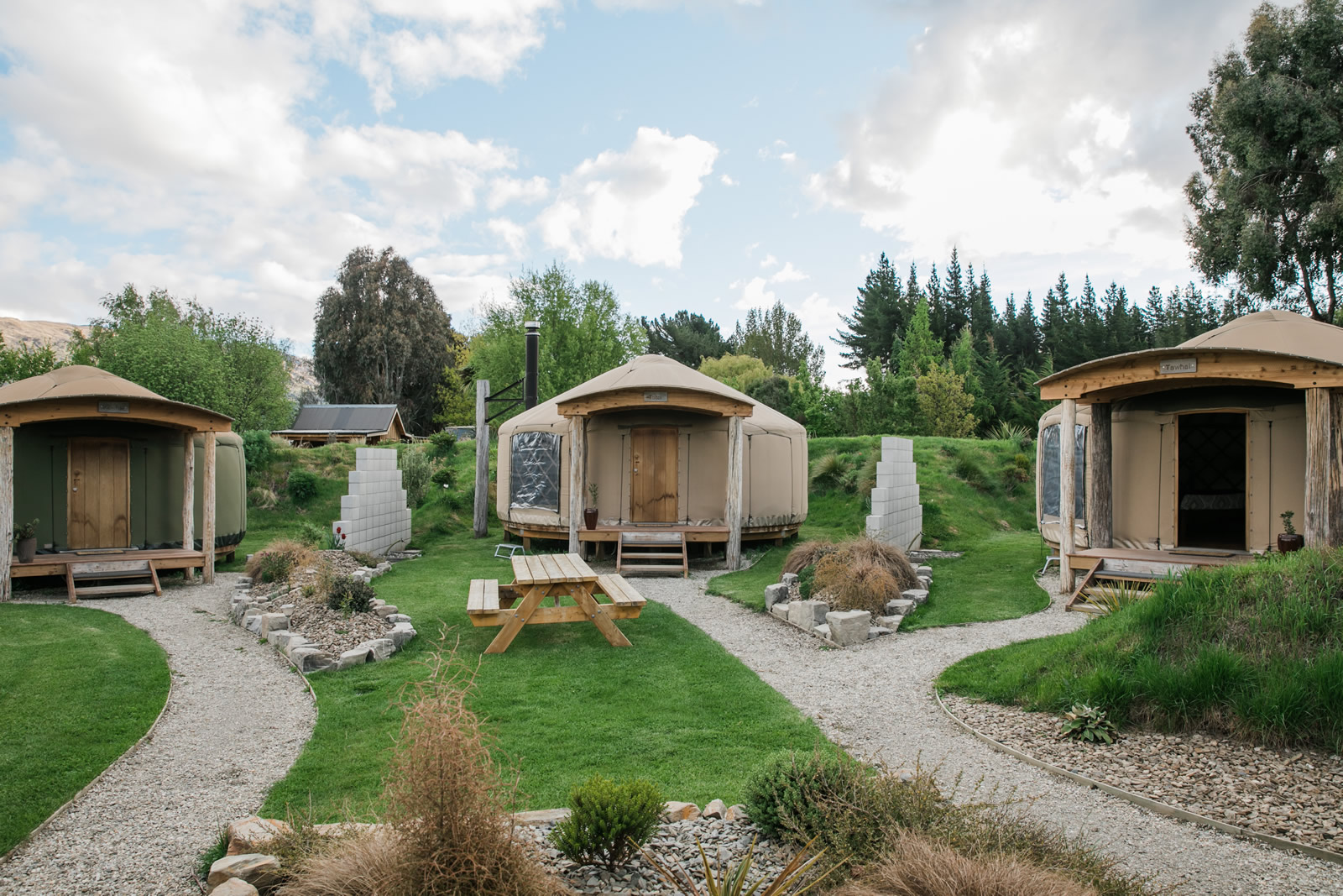 Outside of yurts at Oasis Yurt Lodge, Wanaka New Zealand