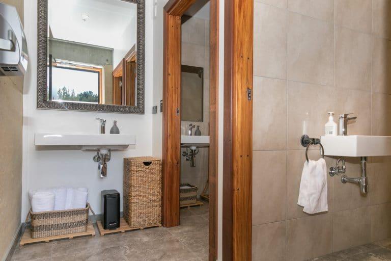 Shared bathroom facilities at Oasis Yurt Lodge Wanaka, New Zealand