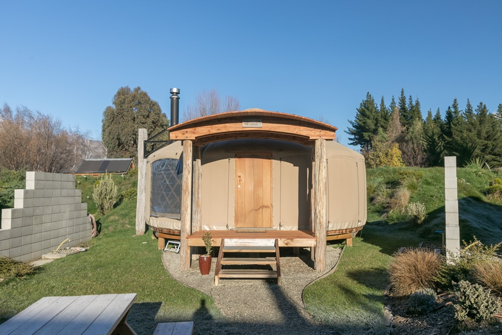 Exterior of Yurt at Oasis Yurt Lodge, Wanaka New Zealand