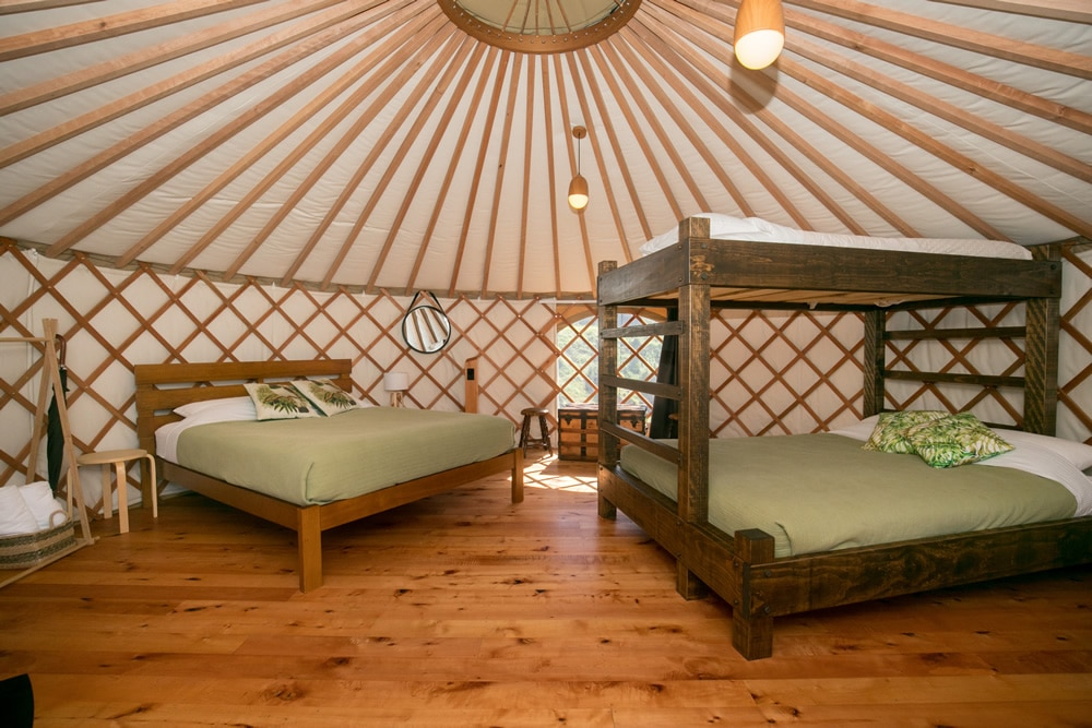 Family Group Yurt Interior at Oasis Yurt Lodge, Wanaka NZ