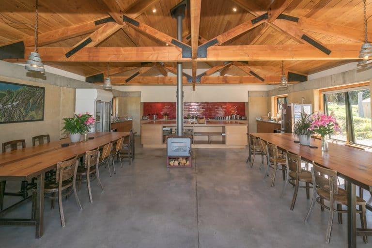 Shared communal kitchen facilities at Oasis Yurt Lodge Wanaka