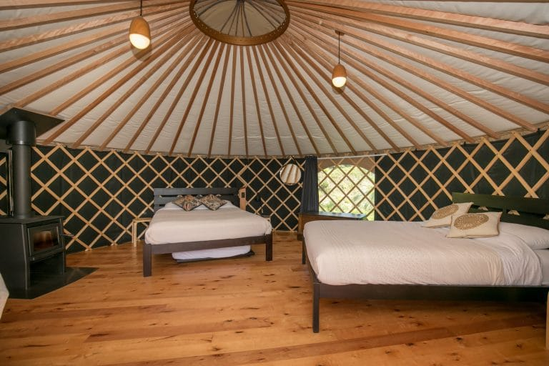 Interior of Double Queen Yurts at Oasis Yurt Lodge Wanaka