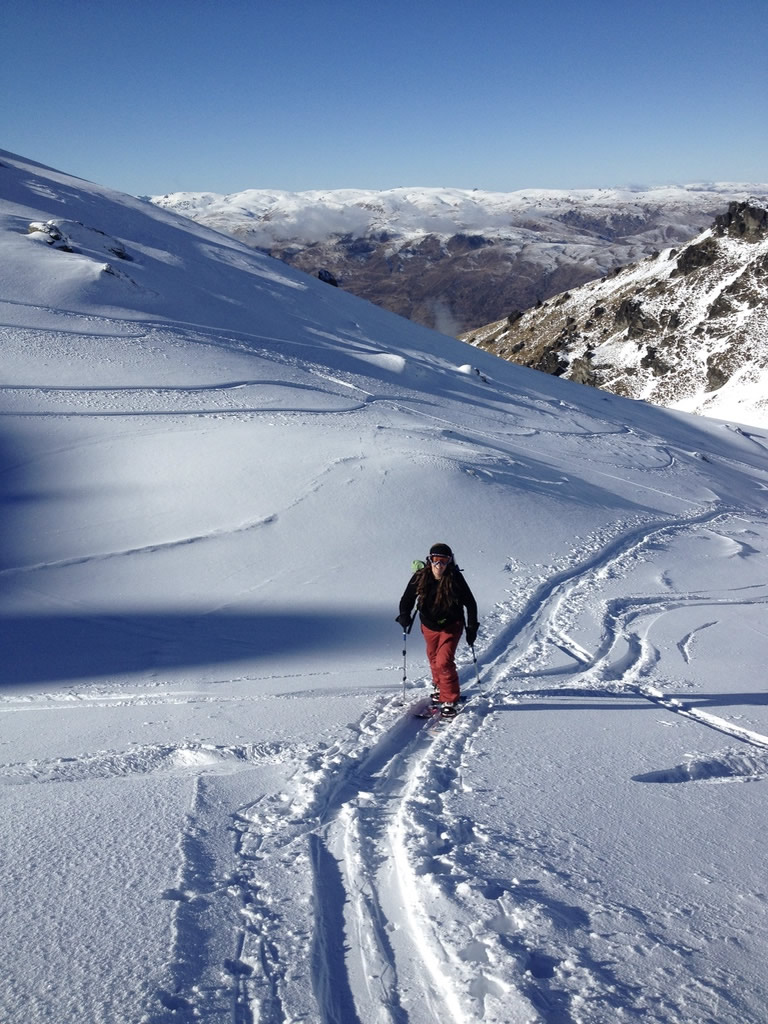 Ski touring uphill, Wanaka New Zealand