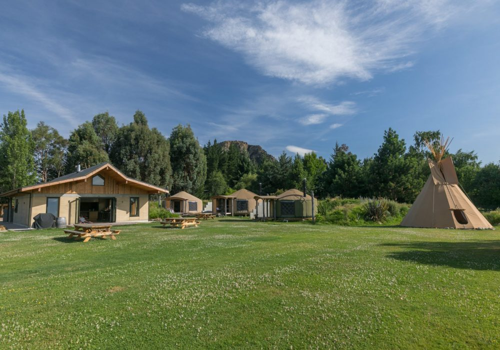 Outside area of Oasis Yurt Lodge