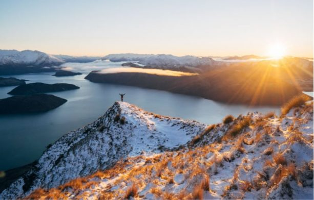 Roy's Peak view on snow covered mountains, Wanaka NZ
