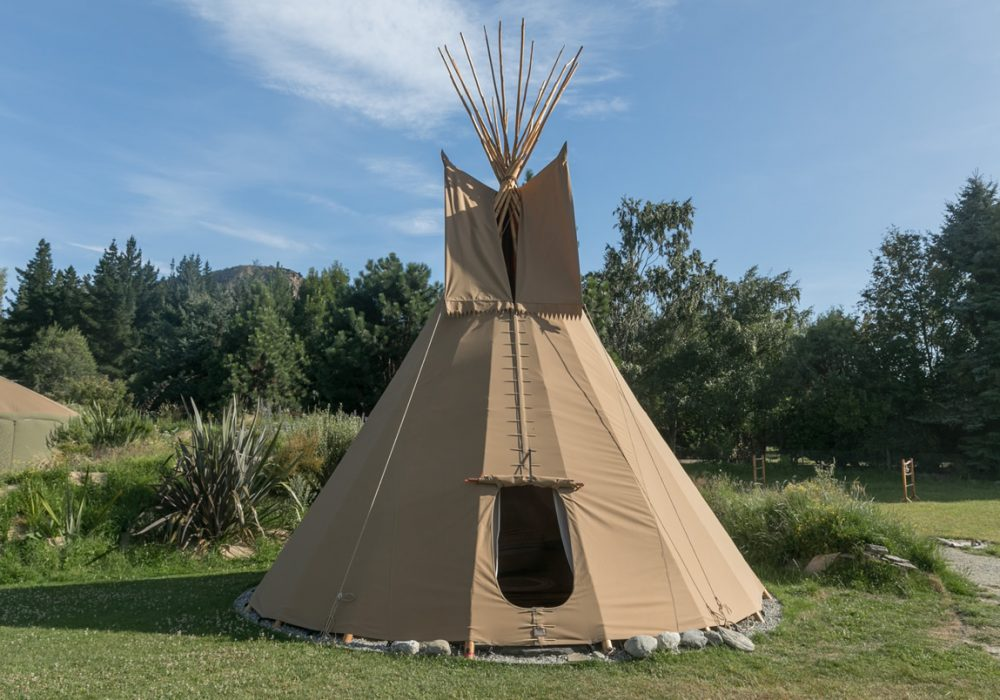 Outside of queen tipi accommodation